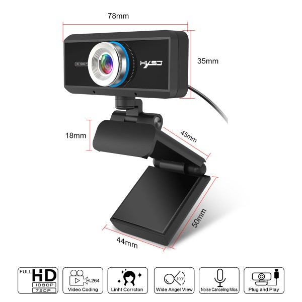 HD 1080P Computer Camera, Laptop PC Webcam with Sound Absorbing Microphone 7