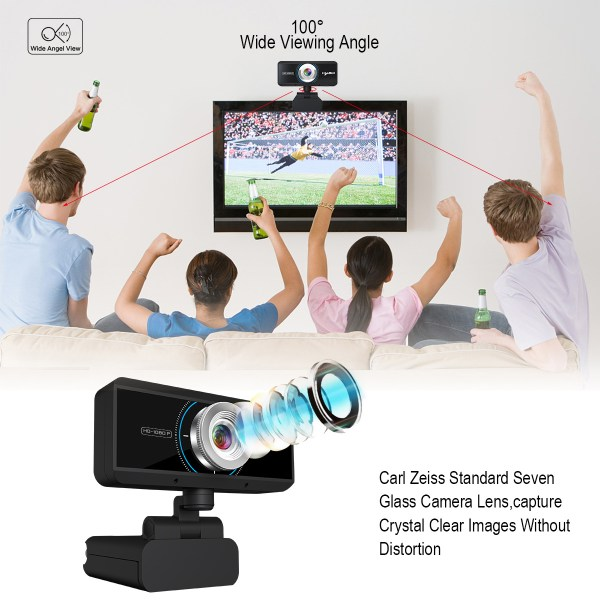 HD 1080P Computer Camera, Laptop PC Webcam with Sound Absorbing Microphone 8