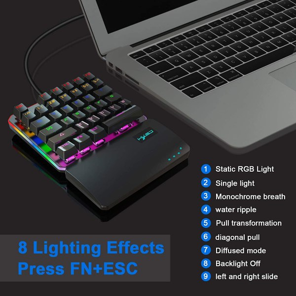 One Handed Mechanical Gaming Keyboard Blue Switches USB Wired LED RGB Colorful Backlight Keypad 5