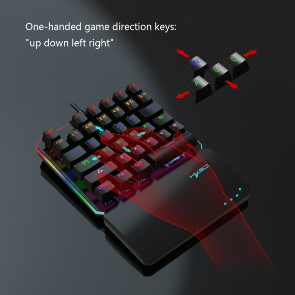 One Handed Mechanical Gaming Keyboard Blue Switches USB Wired LED RGB Colorful Backlight Keypad 6