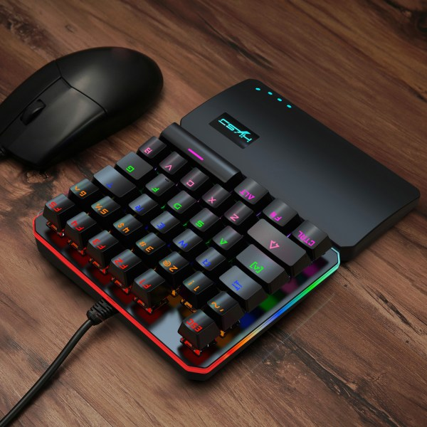 One Handed Mechanical Gaming Keyboard Blue Switches USB Wired LED RGB Colorful Backlight Keypad 8