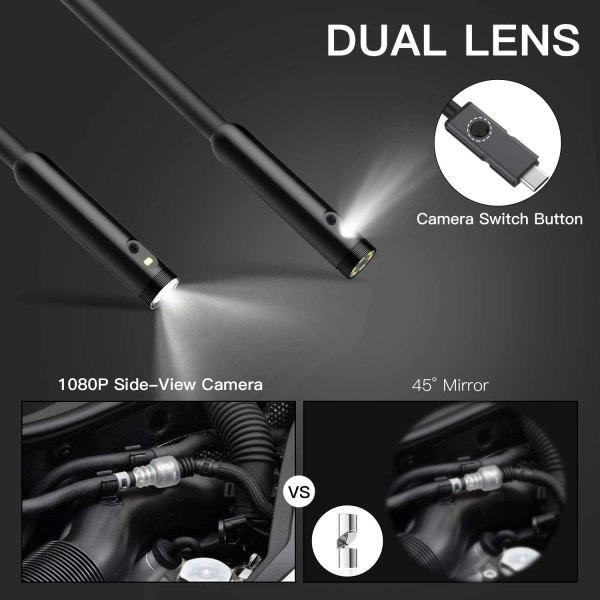 "Inspection Camera 1080p Dual Lens 4.5"" Screen Endoscope with 32GB Memory Card, 16.4ft Waterproof Semi-Rigid Tube Industrial Borescope 2"