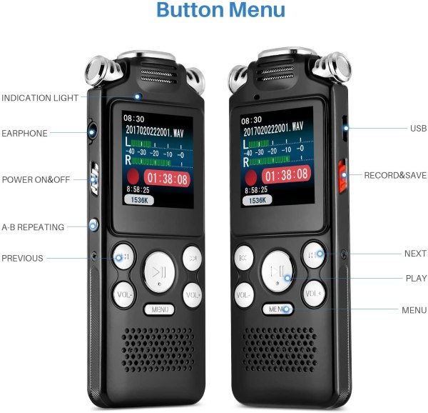 Digital Voice Recorder 16GB with Variable Playback Speed, Sound Recorder, Ultra-Sensitive Microphones, MP3 Player, Noise Reduction Audio Recording 3