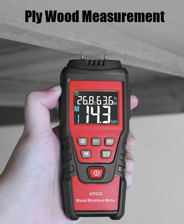 Wood Moisture Meter Digital Wood Humidity Tester Hygrometer Timber Damp Detector with Pin-Type 3