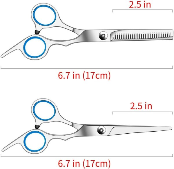 Hair Cutting Scissors Set 10 Pcs Hairdressing Scissors Kit, Thinning Shears, Hair Razor Comb, Clips, Cape, Hairdressing Scissors Kit 4
