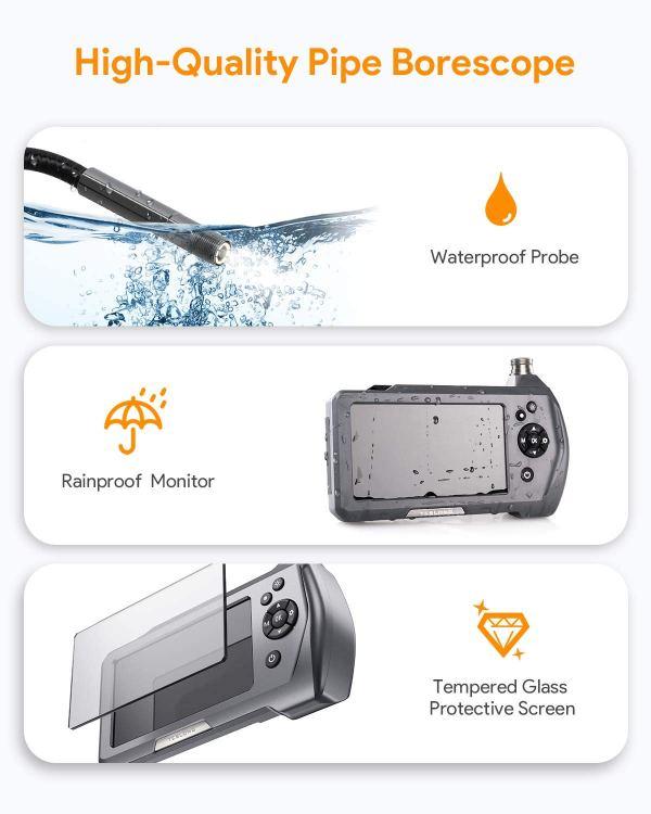 "Industrial Endoscope 3.5"" Screen Borescope Inspection Camera with 0.21"" Diameter Waterproof Snake Camera Probe (3m/9.84ft) 5"