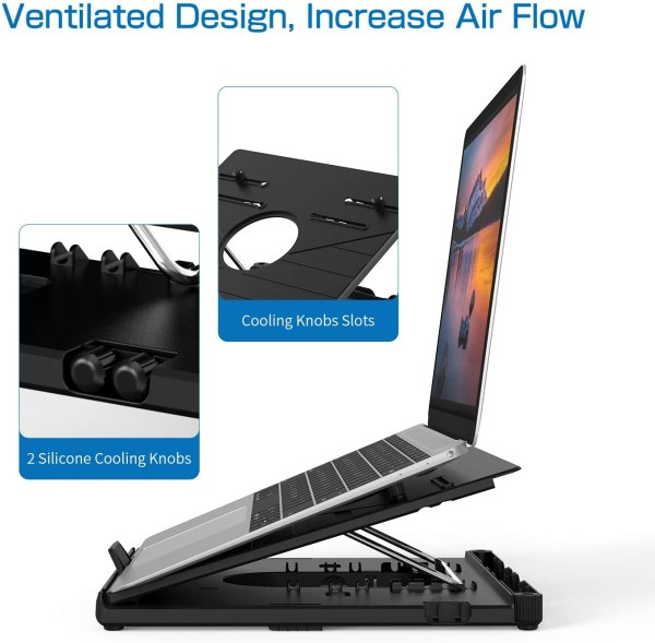 Olmaster Foldable Laptop Stand Adjustable Multi-Angle Computer Riser Portable Laptop Holder with Heat-Vent 6