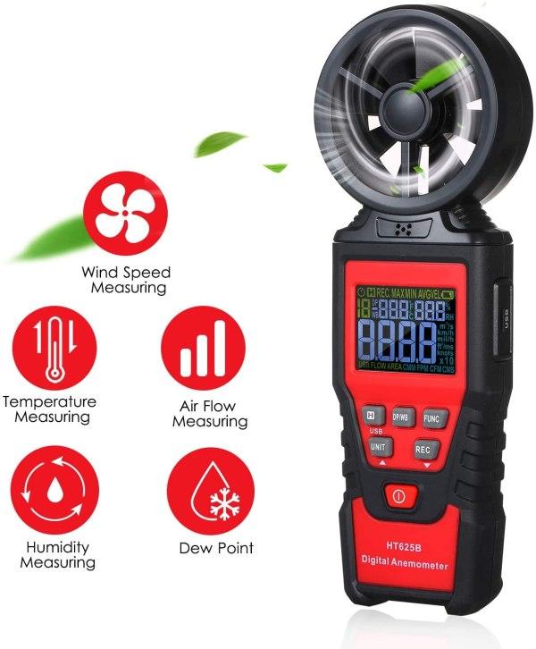 Digital Anemometer Humidity Temperature Testers with USB Data Logging Wind Speed Meter Air Flow Meters (Type B) 3