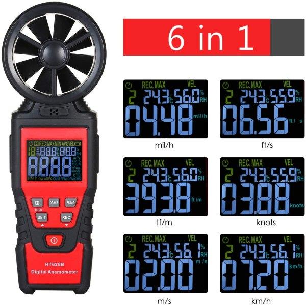 Digital Anemometer Humidity Temperature Testers with USB Data Logging Wind Speed Meter Air Flow Meters (Type B) 4