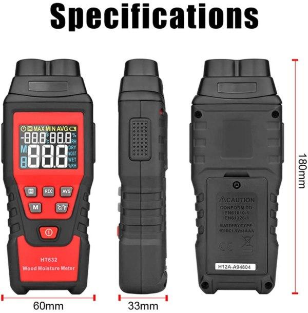 Wood Moisture Meter Digital Wood Humidity Tester Hygrometer Timber Damp Detector with Pin-Type 7