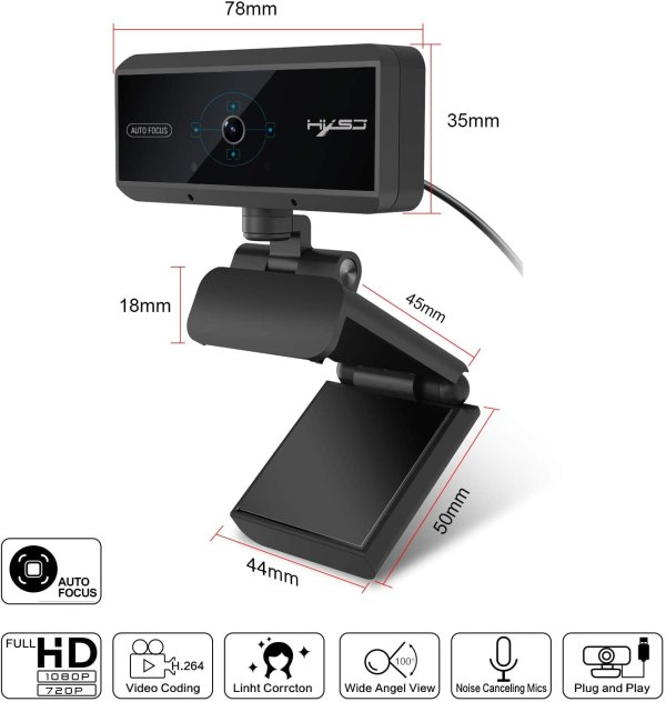 Webcam 1080P HD 5 Million Pixels Auto Focus Streaming Computer Laptop Camera USB PC Web Cam with Microphone Plug and Play 4