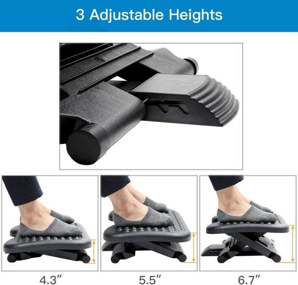 Adjustable Foot Rest Ergonomic Under Desk Footrest with 3 Height Position 30 Degree Tilt Angle Non-Skid Massage Surface Texture 3