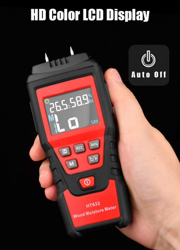Wood Moisture Meter Digital Wood Humidity Tester Hygrometer Timber Damp Detector with Pin-Type 9