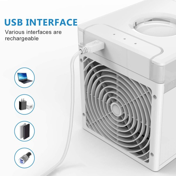 Portable Air Cooler Mini USB Air Conditioner with 3 Speeds and 7 Colors Night Light 6