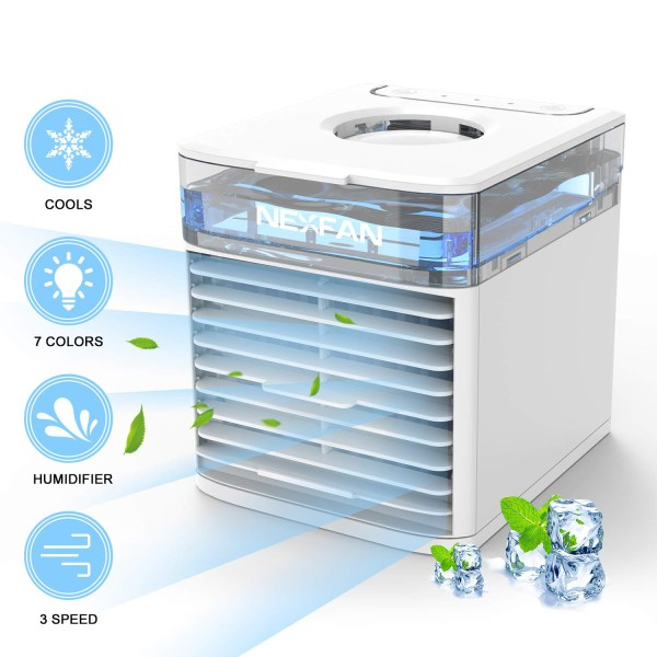Portable Air Cooler Mini USB Air Conditioner with 3 Speeds and 7 Colors Night Light 1