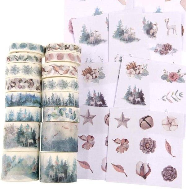 16 Rolls Washi Masking Tape Set Watercolor Forest Deer Design for Traveler Notebook, Journal, Scrapbook, Crafting, Photo Album 2