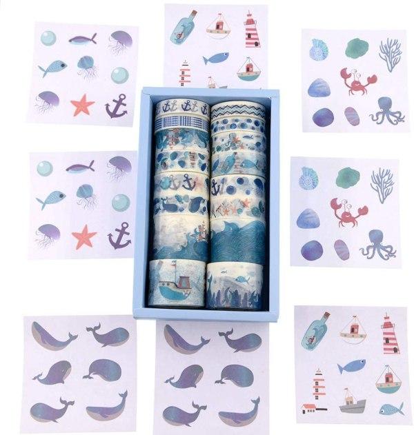 16 Rolls Washi Masking Tape Set Watercolor Blue Sea Life Design for Traveler Notebook, Journal, Scrapbook, Crafting, Photo Album 2