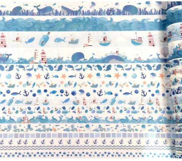 16 Rolls Washi Masking Tape Set Watercolor Blue Sea Life Design for Traveler Notebook, Journal, Scrapbook, Crafting, Photo Album 3