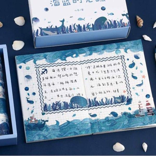 16 Rolls Washi Masking Tape Set Watercolor Blue Sea Life Design for Traveler Notebook, Journal, Scrapbook, Crafting, Photo Album 7