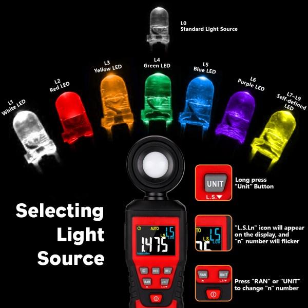 Digital Lux Light Meter Lumenmeter Lux/FC Meters Luminometer, 2000 Counts 0-200000 Lux/0-20000FC (0.01lux/0.01FC Resolution) 5