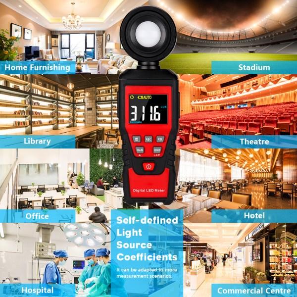 Digital Lux Light Meter Lumenmeter Lux/FC Meters Luminometer, 2000 Counts 0-200000 Lux/0-20000FC (0.01lux/0.01FC Resolution) 4