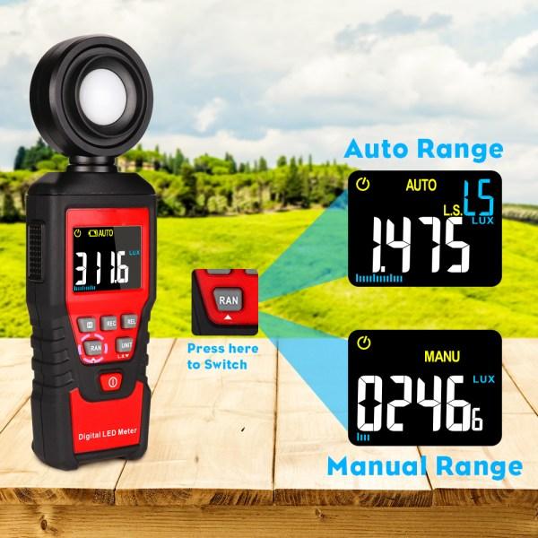 Digital Lux Light Meter Lumenmeter Lux/FC Meters Luminometer, 2000 Counts 0-200000 Lux/0-20000FC (0.01lux/0.01FC Resolution) 2