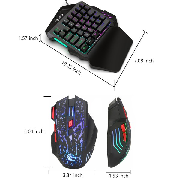 Single Handed Gaming Keyboard 35 Keys LED Backlight and Wired Gaming Mouse Combo with Breathing Light 6