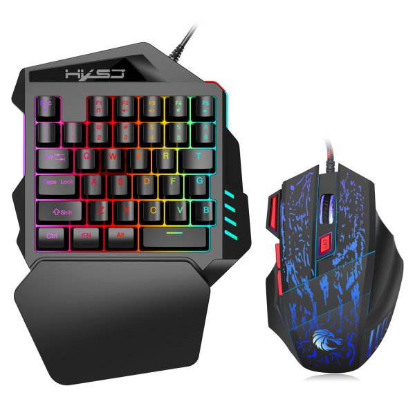 Single Handed Gaming Keyboard 35 Keys LED Backlight and Wired Gaming Mouse Combo with Breathing Light 1