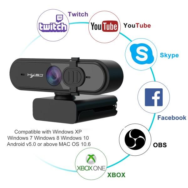 HD 1080P Webcam Autofocus Computer PC WebCam With Microphone Rotatable Cameras 4