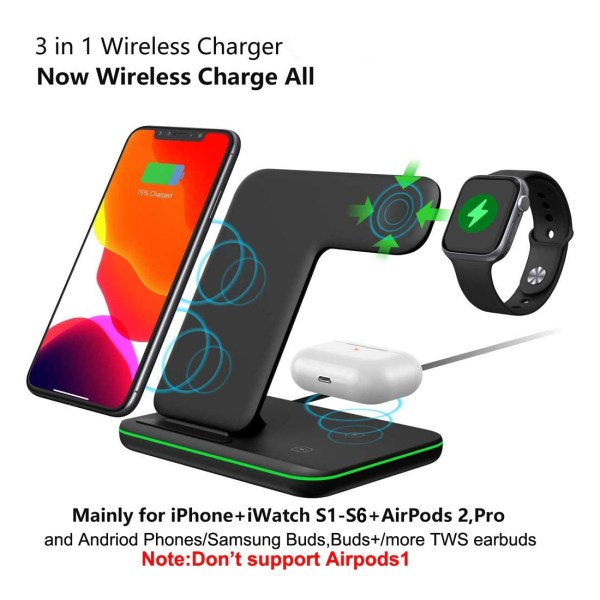 Qi All Wireless Charging Station for iWatch Series 6 5 4 3 2 1, Airpods 2/Pro, Qi Enabled Phones 3