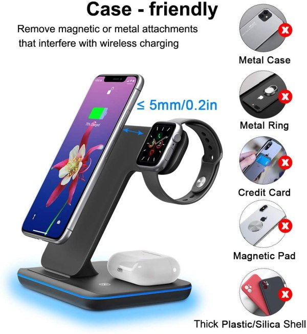 Qi All Wireless Charging Station for iWatch Series 6 5 4 3 2 1, Airpods 2/Pro, Qi Enabled Phones 7