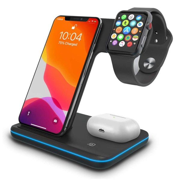 Qi All Wireless Charging Station for iWatch Series 6 5 4 3 2 1, Airpods 2/Pro, Qi Enabled Phones 1