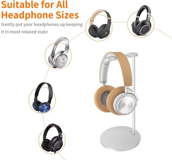 Aluminum Headphone Stand/Holder, Sturdy Gaming Headset Holder Desk Headset Hanger 2