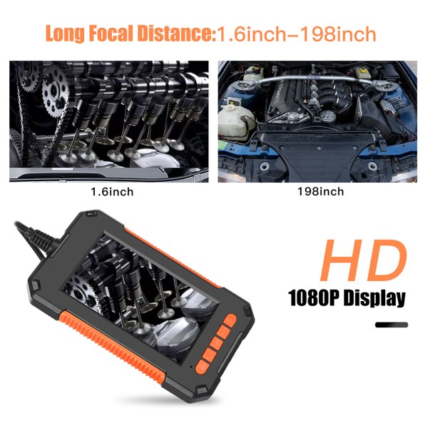 Industrial Endoscope 4.3 inch LCD Screen 1080p HD Borescope Inspection Camera with 32GB TF Card (16.4ft/5m) 2