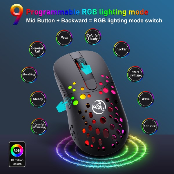 Gaming Mouse, 2.4G Wireless and USB-C Wired Dual-Mode Rechargeable Mice, 6 Programmable Buttons Customize Backlit 5