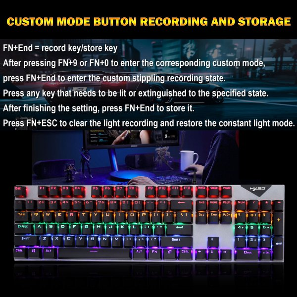 Mechanical Gaming Keyboard Blue Switch 104 Keys USB Wired RGB Backlit Keyboard N-Key Rollover For PC Laptop Computer 4
