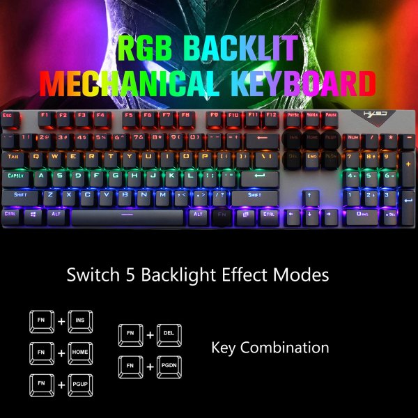 Mechanical Gaming Keyboard Blue Switch 104 Keys USB Wired RGB Backlit Keyboard N-Key Rollover For PC Laptop Computer 7