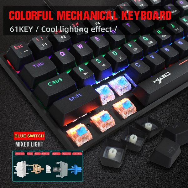 60% Mechanical Gaming Keyboard Blue Switch, Full Anti-Ghosting 61 Key Rainbow Backlit, Wired USB Type-C Cable, 18 Backlit Effects 2