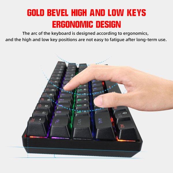 60% Mechanical Gaming Keyboard Blue Switch, Full Anti-Ghosting 61 Key Rainbow Backlit, Wired USB Type-C Cable, 18 Backlit Effects 8