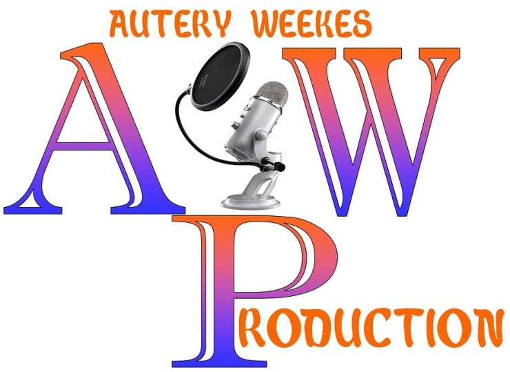A design of Autery Weeks production. The A to the left the w to the right the p to the middle bottom and in the middle of the letters A and W is a studio microphone with a pop filter in front of it. Also, Autery Weekes is writtten on top to join with the a and w and roduction is merge with the p to spell production The colors are blue and orange with a white background.