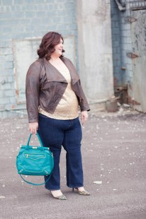 MYNT 1792 Moto Jacket via Gwynnie Bee; ASOS Curve Sequined Tank via Gwynnie Bee; Old Navy Premium Denim bootcut jeans; Olivia + Joy handbag