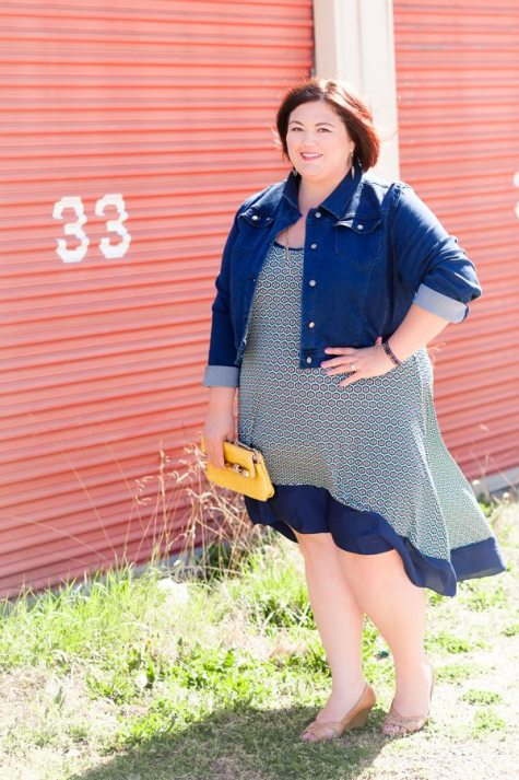 Emmie of Authentically Emmie in a Tbags Los Angeles Dress with SWAK jacket