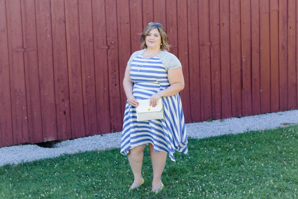 Emmie of Authentically Emmie in the Corey Poppy Handkerchief Hem Dress from Gwynnie Bee