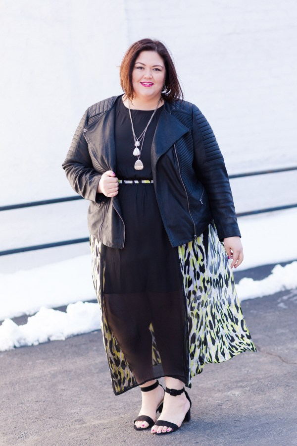 Authentically Emmie in a Simply Be Dress and Shoes, with ASOS Curve jacket
