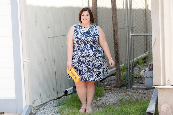 Taylor Dresses Leaf Printed Fit & Flare Dress from Gwynnie Bee on plus size blogger Authentically Emmie
