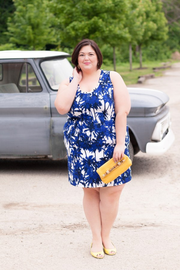 Karen Kane Palm Print Dress from Gwynnie Bee on Plus Size Fashion Blogger Authentically Emmie