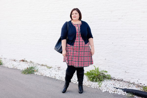 Plus size fashion blogger Authentically Emmie in the Talbots Modern Houndstooth Fit-and-Flare Dress