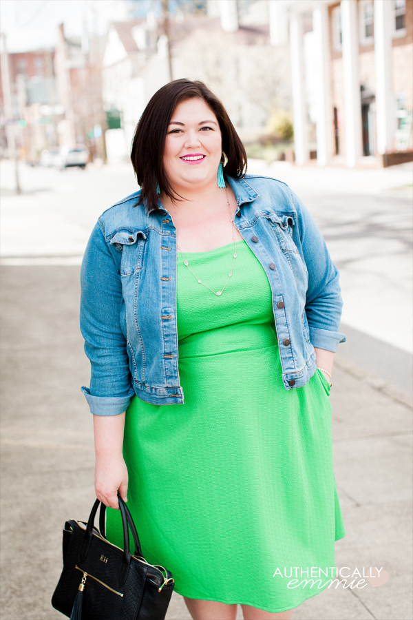 Plus size blogger Authentically Emmie in a London Times spring dress from her Gwynnie Bee subscription. This bright green dress layers well with a denim jacket. #plussize #ootd #gwynniebee