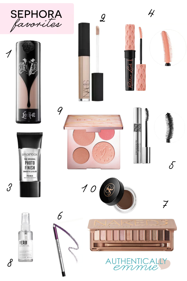 All time favorite Sephora products for an everyday, classic makeup look.