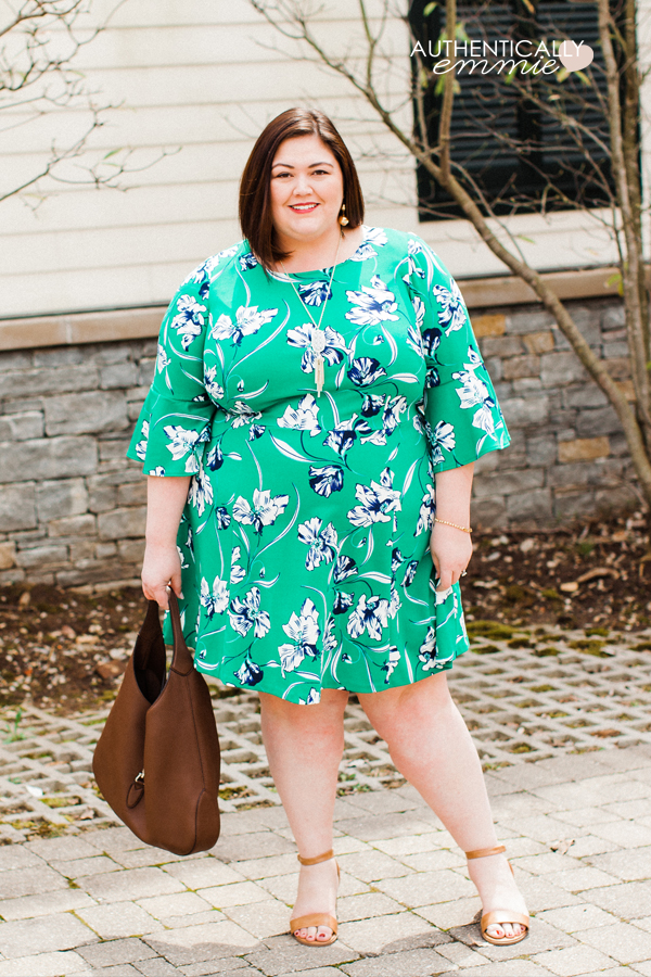 A bright and colorful spring plus size dress on Emily of Authentically Emmie, from her Gwynnie Bee subscription. #ootd